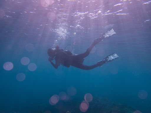 Girl diving underwater